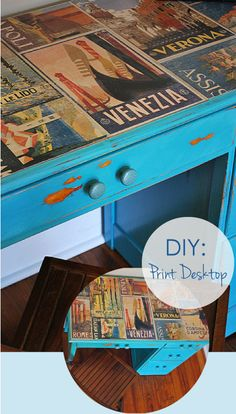 DIY Decoupage Desktop with Posters