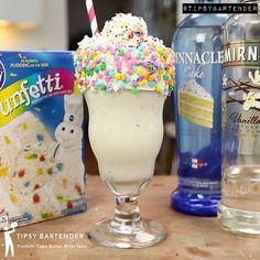 Tipsy Bartender — Funfetti Cake Batter Martini for Leane! Cake Vodka Drinks, Cake Vodka Recipes, Alcoholic Drinks Vodka, Party Drinks Alcohol, Alcohol Drink Recipes, Yummy Drinks, Vodka Cocktails, Alcohol Cake, Vodka Martini