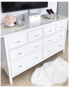 One of my favorite home updates was changing out our dresser drawer knobs to the… – Dresser Decor Ikea White Dresser, White And Gold Dresser, Black White And Gold Bedroom, White And Gold Bedroom Furniture, Ikea Hack Nightstand, White Dressers, Ikea Malm Dresser, Dresser Drawers, Glam Bedroom