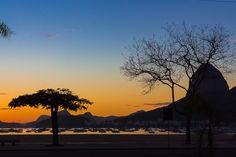 Fotografia das árvores, Pão de Açúcar, barcos e o amanhecer na Enseada de Botafogo - Rio de Janeiro.
