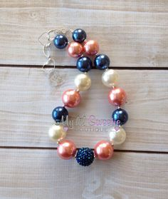 Stunning Coral, Ivory, navy chunky necklace, girls jewelry, wedding jewelry, children's necklace, bubblegum jewelry, bubblegum necklace on Etsy, $25.00