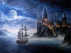 #Castle of #Fairytale- painting oil on canvas Harry Potter Painting, Harry Potter Drawings, Harry Potter Tattoos, Harry Potter Castle, Harry Potter Ships, Castle Painting, Diy Painting, Desenhos Harry Potter, Fairytale Castle