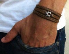Pulsera - hombres estrella de David pulsera - joyas para hombres - hombres pulseras - joyas para hombres - hombres regalo - Boyfirend regalo Jakob marrón hombre - chicos