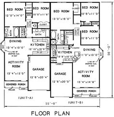 COOL house plans offers a unique variety of professionally designed home plans with floor plans by accredited home designers. Styles include country house plans, colonial, victorian, european, and ranch. Blueprints for small to luxury home styles. Duplex Floor Plans, House Floor Plans, Building Plans, Building A House, Duplex Design, House Design, In Law House, Co Housing, Multi Family Homes
