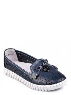 f80995c76f48 Dámske topánky z pravej kože TENDENZ - tmavo modrá