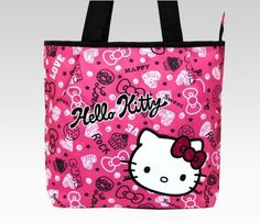 This zipper closure tote features 1 inside pocket, 2 outside pockets, and Hello Kitty's sweet face on the front for added cuteness. Description from hellokittysshop.com. I searched for this on bing.com/images