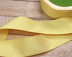 1 Yard of 1.5 Inch Twill Yellow Chevron Stripes Ribbon, Craft Supply, Scrapbooking, Card Making, Sewing, Embellishment, Accent, Quilting by PaperDahlsLLC on Etsy