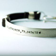 Dad bracelet personalized custom Leather Cuff Bracelet for men - Latitude Longitude - Jewelry for HIM - original design Groom Gift thebeadgirl