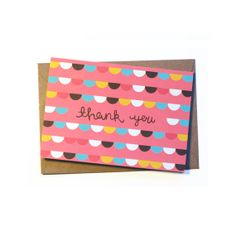 Cute Pink 'Thank You' Greetings Card by stephsayshello, £2.75