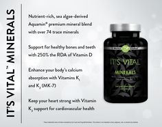 Keep those bones strong, your heart healthy, and your body nourished with It's Vital™ Minerals. Powered by sea-algae derived Aquamin® premium mineral blend, It's Vital Minerals helps your body maximize calcium absorption through a superior combination of 250% of the RDA of Vitamin D and Vitamins K1 and K2 (MK-7), ensuring calcium stays in your bones and boosting support for your cardiovascular health.  http://wrapmeup2.myitworks.com/shop/product/319/