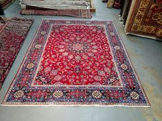 Persian Rug - 1970s Hand-Knotted, Mosque Ardebil Designed Mashad Rug (3565) by carpetshopprincess on Etsy