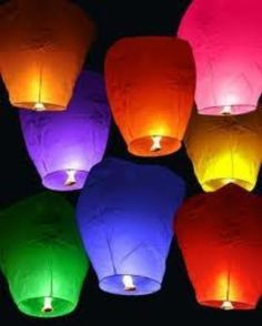 50 X Chinese Wishing Sky Paper Lantern Wedding Birthday Party Assorted Colors