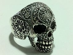 sugar skull pack FLOWER FINGER punk sterling silver by silver999, $59.99
