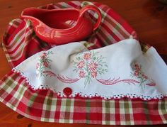 Tea Towel with a Vintage Touch - Flower Garland - Pretty - Vintage ...