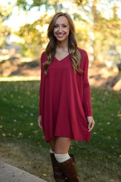 Description We brought our super popular Piko Tunic back, this time in a brand new wine color! We love this color because of its richness, wear it in cooler weather for the holidays or warmer weather!