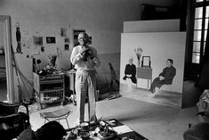 David Hockney in the studio.  Photo by Derek Hudson.