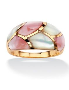 Pink and White She'll Inlay Ring by PalmBeach Jewelry   (item 121337) #jewelry #rings  $99.99