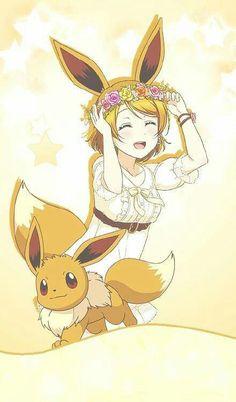 Hanayo x Evoli Pokemon Comics, Pokemon Fan Art, Gif Pokemon, Pokemon Human Form, Pokemon People, Pokemon Red, Pokemon Cosplay, Digimon, Equipe Pokemon