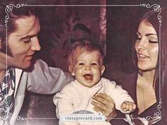 Elvis & Priscilla Presley with Their Baby Lisa Marie - Vintage eCard