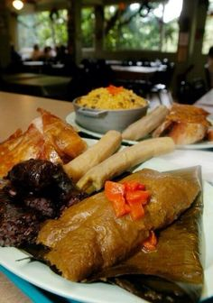 Arroz con gandules,Pasteles,morcilla,guineos traditional foods from Puerto Rico  Puertoricans foods
