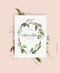 """""""Autumn...the year's last, loveliest smile."""" John Howard Bryant   Handdrawn aquarelle-illustration for a wedding invitation card. For personal illustrations write me an eMail hello@larabispinck.com  #botanical #poster #print #plants #autumn #wedding #weddingtime #typography #cone #fern # leaves #hochzeit # hochzeitseinladung #handdrawn #greenliving #botanicalliving #invitation #stationary #illustration #larabispinck #everywhereyougo #larabispinckillustration #green #aachen #germany"""