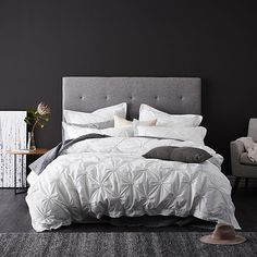 A light and fresh design, the Coco quilt cover set features elegant detail in classic white. Coordinating European pillowcases are also available to style this look in your home. Grey Bedding, Luxury Bedding, Bed Head Styling, Grey Feature Wall, White Bedroom Set, Bed Sets For Sale, Home Republic, King Comforter Sets, Affordable Bedding