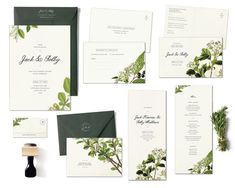 Flora Suite Sample Set Vintage Botanical Wedding invitation invite by HairpinPress, $7.00