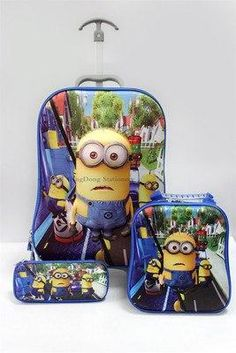 5acc219f01 Anime Trolley Case Kids Climb The Stairs Luggage. Minion SchoolKids ...