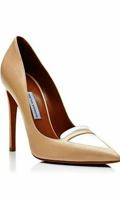 Shop Lexi Two-Tone Leather Pumps. These classic beige Tabitha Simmons pumps feature a pointed toe with a contrast white leather detail at the top. Pretty Shoes, Beautiful Shoes, Crazy Shoes, Me Too Shoes, Shoe Boots, Shoes Heels, Dress Shoes, Mode Shoes, Hot High Heels