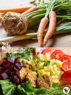 Nastrouháme nebo nasekáme v robotu 250 g bílého tofu, 400 g mrkve, 4 stroužky česneku, kousek čerstvého zázvoru, jeden celer a jeden pórek. ... Tofu, Baked Potato, Green Beans, Low Carb, Potatoes, Nebo, Chicken, Baking, Vegetables