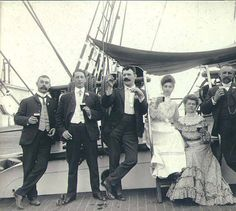 Four men and two women on the deck of the three-masted bark LAMORICIERE(?), Puget Sound port, Washington, ca. 1904. :: Wilhelm Hester Photographs