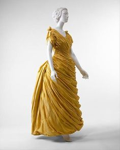 Evening dress Design House: Attributed to Liberty & Co. (British, founded London, 1875) Date: 1880s Culture: British Medium: silk Dimensions: Length at CB: 55 1/2 in. (141 cm) Credit Line: Purchase, Gifts from Various Donors, 1985 Metropolitan Museum of Art