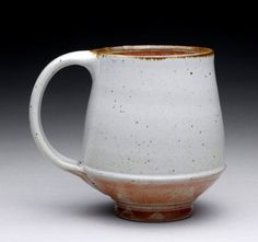 tall mug tea cup with satin white and orange by rmoralespottery