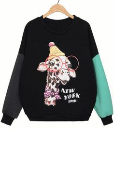 Color Block Giraffe Fleece Sweatshirt - OASAP.com