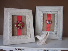 Micro mosaic  Red Pin on Burlap Frames by SeeHaven  $45.00