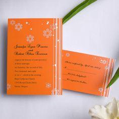 orange snowflake winter cheap printable wedding invitations EWI188