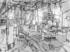 Serial Experiments Lain layout drawing by Yoshitake Abe Arte Cyberpunk, Sf Wallpaper, Wallpaper Backgrounds, Windows Wallpaper, Serial Experiments Lain, Environment Sketch, 3d Mode, Arte Horror, Arte Popular