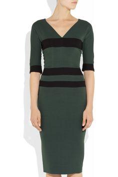 Victoria Beckham - Striped silk-blend stretch-crepe dress