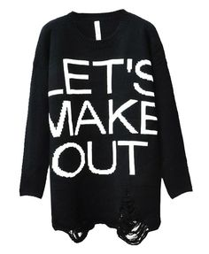Knitted Letters Ripped Holes Pullover - Clothing