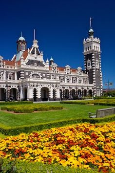 Dunedin City Railway Station Architecture Otago South Island New Zealand - I walked by this on the way to the Warehouse and the beach many times. Dunedin will always hold a special place in my heart