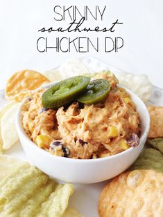 Skinny Southwest Chicken Dip (Crock Pot) - One of the most amazing chicken dips you'll ever eat!