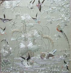 Antique Chinese Framed Embroidery. 19th century