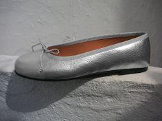 Claudia ballerina shoe in metallic silver by Maria by MariaRivassi, $260.00