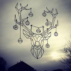 Raamtekening.nl   Origami Zoo Kerst hert raamtekening