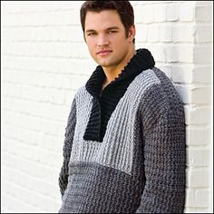 The Tuxedo Front Pullover is a Kim Kotary #crochet sweater pattern from the November '09 issue of Crochet! Magazine