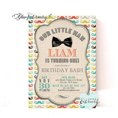 Little Man Birthday Invitation // Bow Tie Little by AfterFebruary