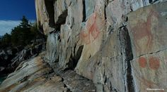 Agawa Rock Pictographs in Lake Superior Provincial Park are visible from the viewing platform on a calm day/ Ontario Travel, Best Hikes, Lake Superior, Pebble Beach, Day Trips, Trekking, Waterfall, To Go, Hiking