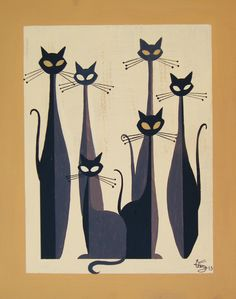 Cats - El Gato Gomez Art Illustration cats and dogs Retro Kunst, Retro Art, I Love Cats, Crazy Cats, Black Cat Art, Black Cats, Motifs Animal, Cat Quilt, Mid Century Art