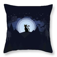 Cat Throw Pillow featuring the digital art A Cat In The Moonlight by Cuiava Laurentiu Bright Pillows, Throw Pillows, Cat Throw, Pillow Reviews, Pillow Sale, Tag Art, Basic Colors, Poplin Fabric, Color Show