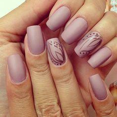Lilac leaf romantic nail design